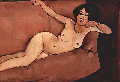 Nude On Sofa Print by Amedeo Modigliani