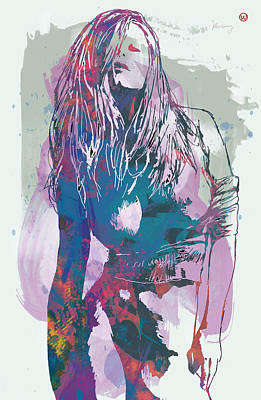 Saxophone Mixed Media - Nude - Pop Art Etching Poster  by Kim Wang
