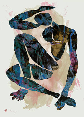 Saxophone Mixed Media - Nude Pop Art Paper Cut Poster by Kim Wang