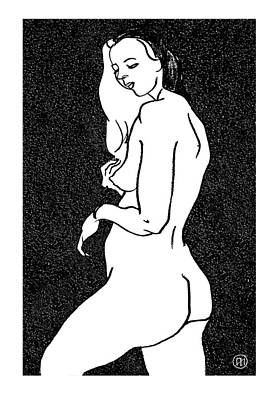 Model Drawing - Nude Sketch 1 by Leonid Petrushin