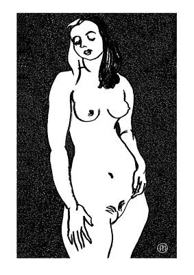 Female Drawing - Nude Sketch 3 by Leonid Petrushin