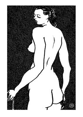 Female Drawing - Nude Sketch 6 by Leonid Petrushin