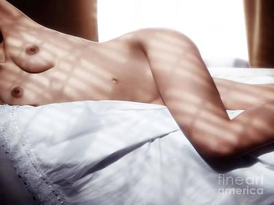 Nude Woman In Bed Artistic Body Closeup Original by Oleksiy Maksymenko