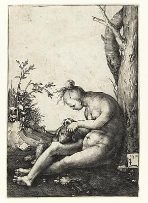 Lucas Van Leyden Drawing - Nude Woman With A Dog by Lucas van Leyden