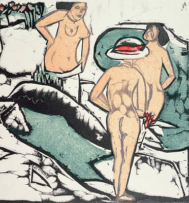 Bathing Painting - Nude Women by Ernst Ludwig Kirchner