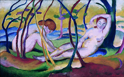Blue And Red Painting - Nudes Under Trees by Franz Marc
