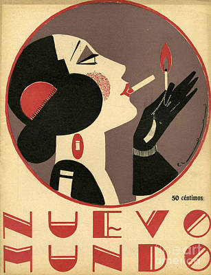Woman Drawing - Nuevo Mundo 1923 1920s Spain Cc by The Advertising Archives