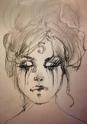 Tears Drawing - Number Five by H James Hoff