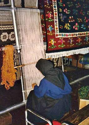Nun Knotting Carpet Print by Sarah Loft
