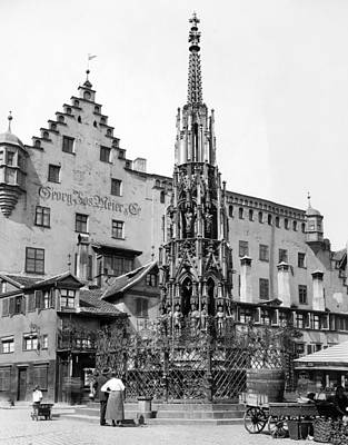 Nuremberg Beautiful Fountain Print by Underwood Archives