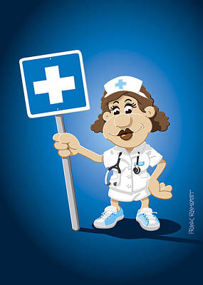 Nurse Cartoon Woman Hospital Sign Print by Frank Ramspott