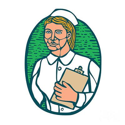 Nurse Holding Clipboard Oval Woodcut Linocut Print by Aloysius Patrimonio