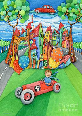 Children Painting - Nursery Artwork Children Car by Sonja Mengkowski