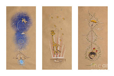Astronauts Drawing - Nursery Collection 2 by David Breeding