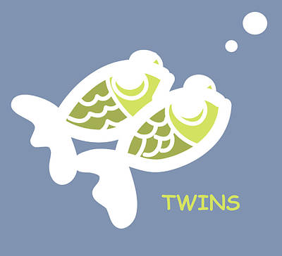 Nursery Wall Art For Twins Print by Nursery Art