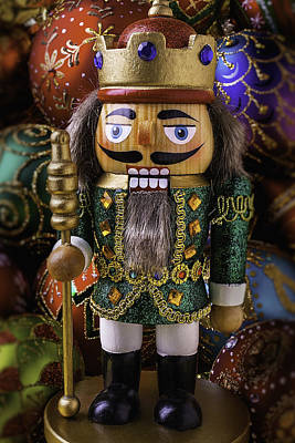 Nutcracker With Ornaments Print by Garry Gay
