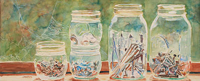 Mason Jars Painting - Nuts And Bolts Impression by Jenny Armitage
