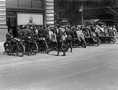 Law Enforcement Photograph - Ny Armored Motorcycle Squad  by Underwood Archives