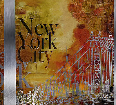 Brooklyn Bridge Painting - Ny City Collage - 6 by Corporate Art Task Force