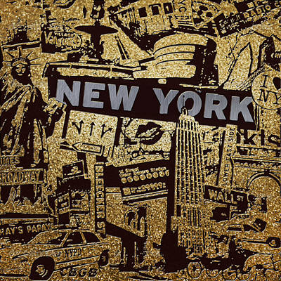 Brooklyn Bridge Painting - Ny City Collage - 9 by Corporate Art Task Force