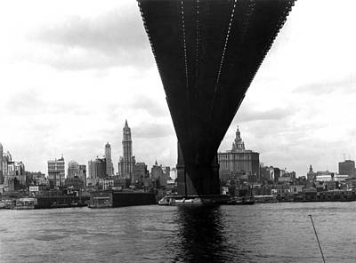 Ny Skyline From Brooklyn Print by Underwood Archives