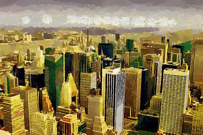 Twin Towers Nyc Painting - Ny Through The Eyes Of Birds by Georgi Dimitrov