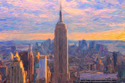 Empire State Building Painting - Nyc And The Empire State Building by Adam Asar
