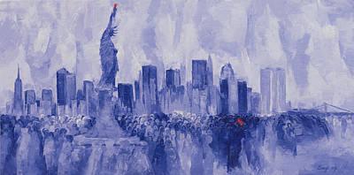 Statue Of Liberty Painting - NYC by Bayo Iribhogbe