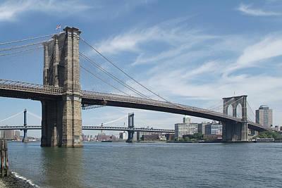 Brooklyn Bridge Digital Art - Nyc Brooklyn And Manhattan Bridges by Mike McGlothlen