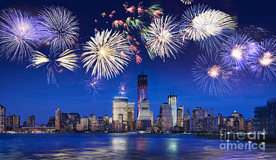 Nyc Fireworks Print by Delphimages Photo Creations