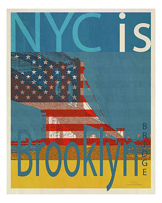 Blue And Red Drawing - Nyc Is Brooklyn Bridge by Joost Hogervorst