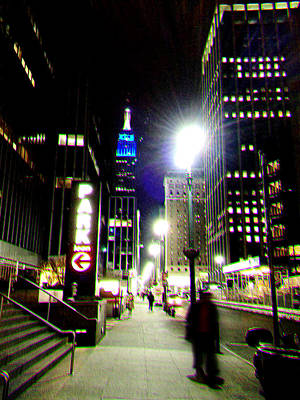 Nyc Night Walk Print by Li   van Saathoff