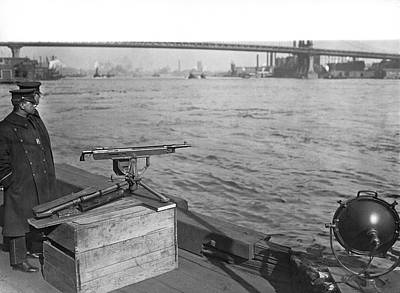 Law Enforcement Photograph - Nyc Prohibition Police Boat by Underwood Archives