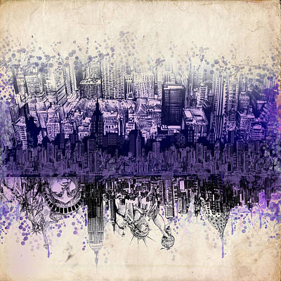 Nyc Digital Art - Nyc Tribute Skyline 2 by Bekim Art