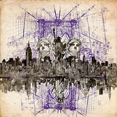 Nyc Digital Art - Nyc Tribute Skyline 5 by Bekim Art