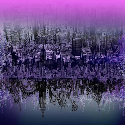 Statue Of Liberty Digital Art - Nyc Tribute Skyline by Bekim Art