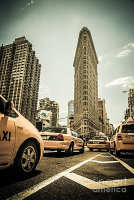 Nyc Yellow Cabs At The Flat Iron Building - V1 Print by Hannes Cmarits