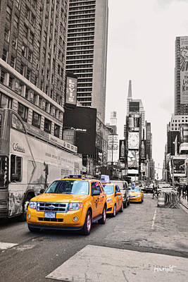 Asphalt Digital Art - Nyc Yellow Cabs by Paulette B Wright