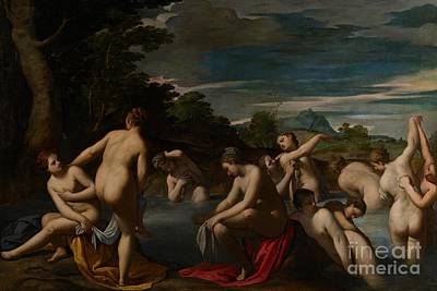 Lesbianism Painting - Nymphs At The Bath by Ippolito Scarsella