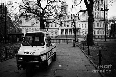 Nypd Police Three Wheeled Cushman Scooter Vehicle Outside City Hall Park New York City Print by Joe Fox