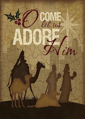 Nativity Scene Painting - O Come Let Us Adore Him Wisemen by Jennifer Pugh