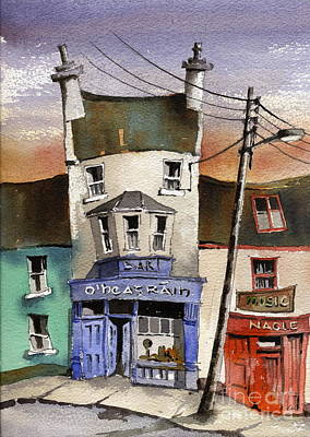Ireland Painting - O Heagrain Pub Viewed 14254 Times by Val Byrne