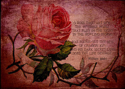 O Rose Thou Art Sick Print by Sarah Vernon