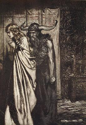 Vikings Drawing - O Wife Betrayed I Will Avenge by Arthur Rackham