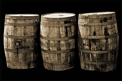Barrel Photograph - Oak Barrel Sepia by LeeAnn McLaneGoetz McLaneGoetzStudioLLCcom