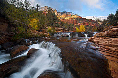 Oak Creek Cascades Print by Guy Schmickle