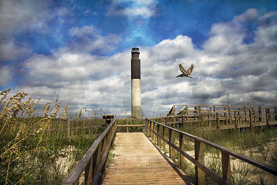Seagrass Photograph - Oak Island Lighthouse by Betsy C Knapp