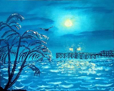 Oak Island Pier Original by Margaret G Calenda