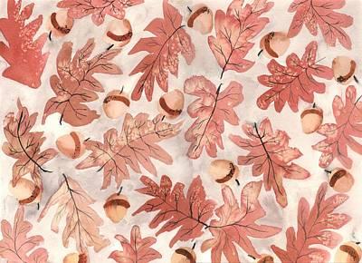 Autumn Painting - Oak Leaves And Acorns by Neela Pushparaj