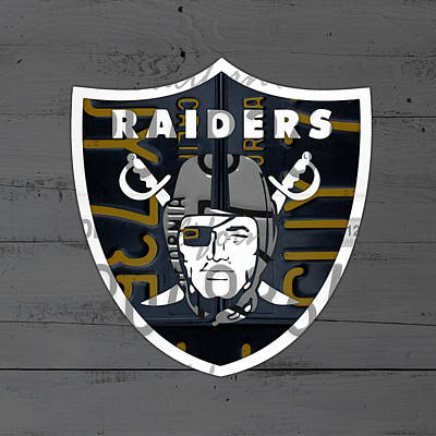 Team Mixed Media - Oakland Raiders Football Team Retro Logo California License Plate Art by Design Turnpike